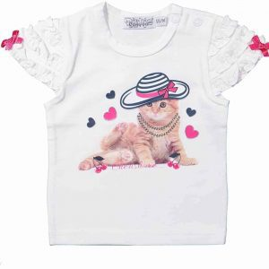 Dirkje t-shirt Cat white Maat 68