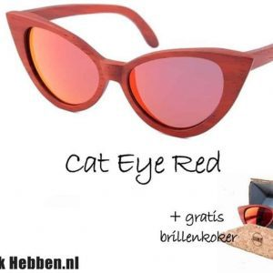 Houten Zonnebril: Cat Eye Red