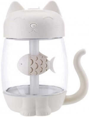 Kitty humidifier - kat luchtbevochtiger (wit) - USB - LED - auto - ventilator - nachtlamp