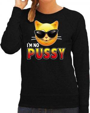 Funny emoticon sweater I am no pussy zwart dames M