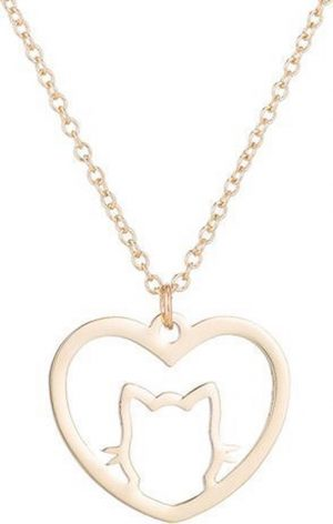 24/7 Jewelry Collection Kat Hart Ketting - Hartje - Poes - Open - Goudkleurig