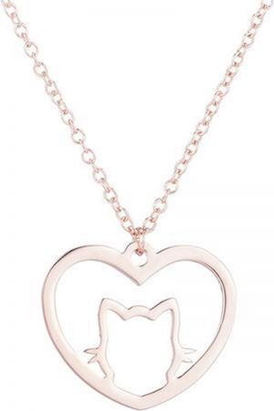 24/7 Jewelry Collection Kat Hart Ketting - Hartje - Poes - Open - Rosé Goudkleurig