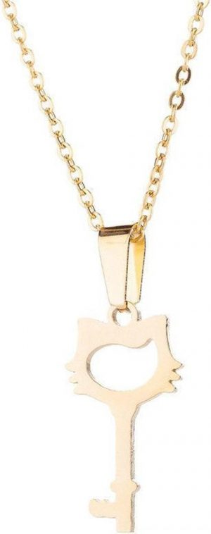 24/7 Jewelry Collection Kat Sleutel Ketting - Goudkleurig