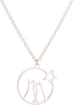 24/7 Jewelry Collection Katten Ketting - Poesen - Kat - Poes - Rosé Goudkleurig