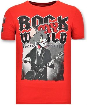 Local Fanatic Exclusieve T-Shirt Mannen - Rock My World Cat - Rood - Maten: XL