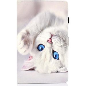 Samsung Galaxy tab A7 10.4 (2020) - hoesje book case cover - Witte poes kat