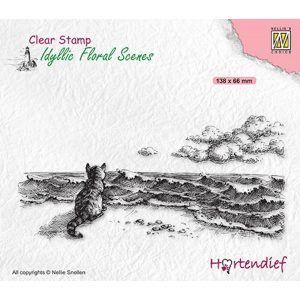 """IFS042 - achtergrond Clearstamp Nellie Snellen - Kai4you - """"Missing you"""" - kat poes zee strand wolken - stempel condeolance"""